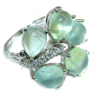 Very Fancy Natural Prehnite .925 Sterling Silver handmade ring s. 9