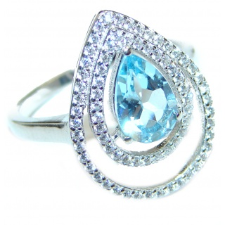 Sublime Genuine Swiss Blue Topaz .925 Sterling Silver handcrafted Ring size 7 1/4