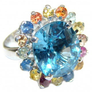 Melissa Genuine Swiss Blue Topaz .925 Sterling Silver handcrafted LARGE Statement Ring size 8