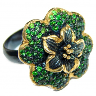 My sweet Flower Chrome Diopside black rhodium over .925 Sterling Silver Statement ring size 8