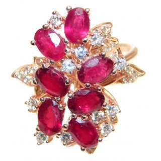 Genuine Kashmir Ruby gold over .925 Sterling Silver handcrafted Statement Ring size 8