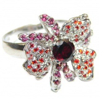 Large Genuine Garnet .925 Sterling Silver handcrafted Statement Ring size 8 3/4