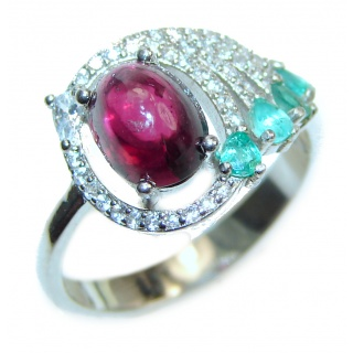 Vintage Beauty genuine Ruby Emerald .925 Sterling Silver Statement handcrafted ring; s. 7