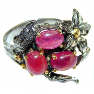 Genuine Kashmir Ruby gold over .925 Sterling Silver handcrafted Statement Ring size 8 3/4