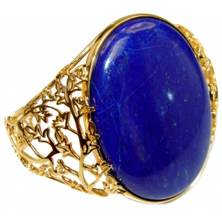 Blue Garden Lapis Lazuli 18K Gold over .925 Sterling Silver handcrafted Bracelet / Cuff