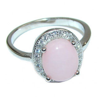 Vintage Design Pink Opal .925 Sterling Silver handcrafted ring size 7