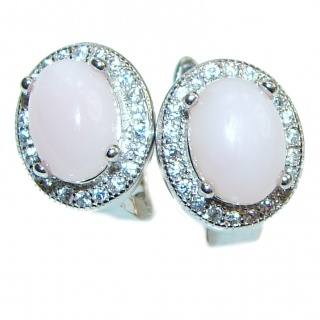 Pink Opal .925 Sterling Silver entirely handmade earrings