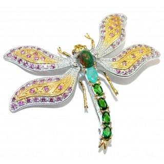 Incredible Dragonfly Natural Black Opal Ruby 925 Sterling Silver Pendant Brooch