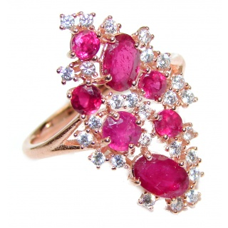 Genuine Kashmir Ruby gold over .925 Sterling Silver handcrafted Statement Ring size 7