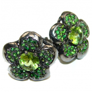 Aurora Authentic Peridot black rhodium .925 Sterling Silver handmade earrings