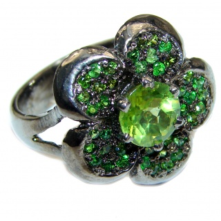 Aurora Spectacular Natural Peridot .925 Sterling Silver handcrafted ring size 7 3/4