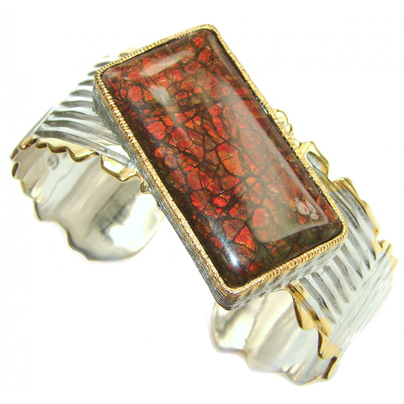 Beautiful New Design Red Ammolite 14k Gold over .925 Sterling Silver handmade Bracelet / Cuff