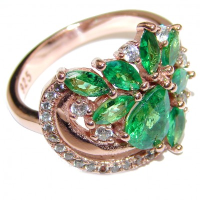 Genuine Chrome Diopside rose Gold over .925 Sterling Silver handcrafted ring size 7