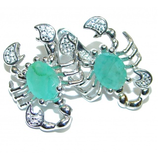 Spectacular Scorpio Authentic Colombian Emerald .925 Sterling Silver handmade earrings
