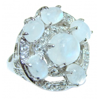 Angelica Rainbow Moonstone .925 Sterling Silver handmade Ring size 7 1/2