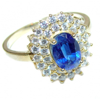 Classic Beauty Sapphire 14K Gold over .925 Sterling Silver handcrafted ring size 8 1/4