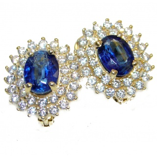 Fancy Sapphire 14K Gold over .925 Sterling Silver handmade earrings