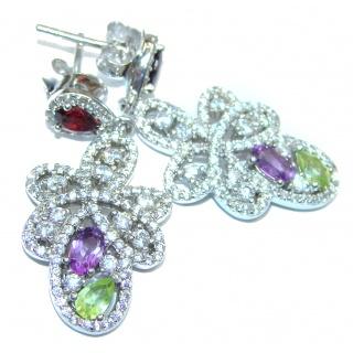 Posh Design Amethyst Peridot .925 Sterling Silver handmade earrings