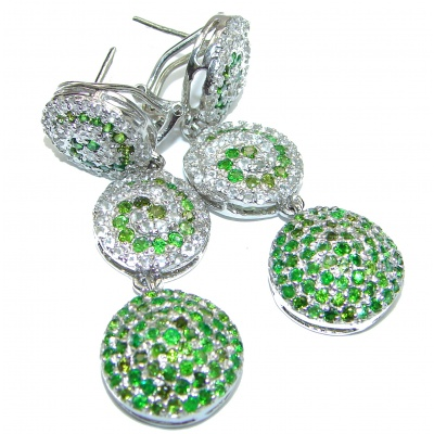 Vintage Design Authentic Chrome Diopside .925 Sterling Silver handmade earrings