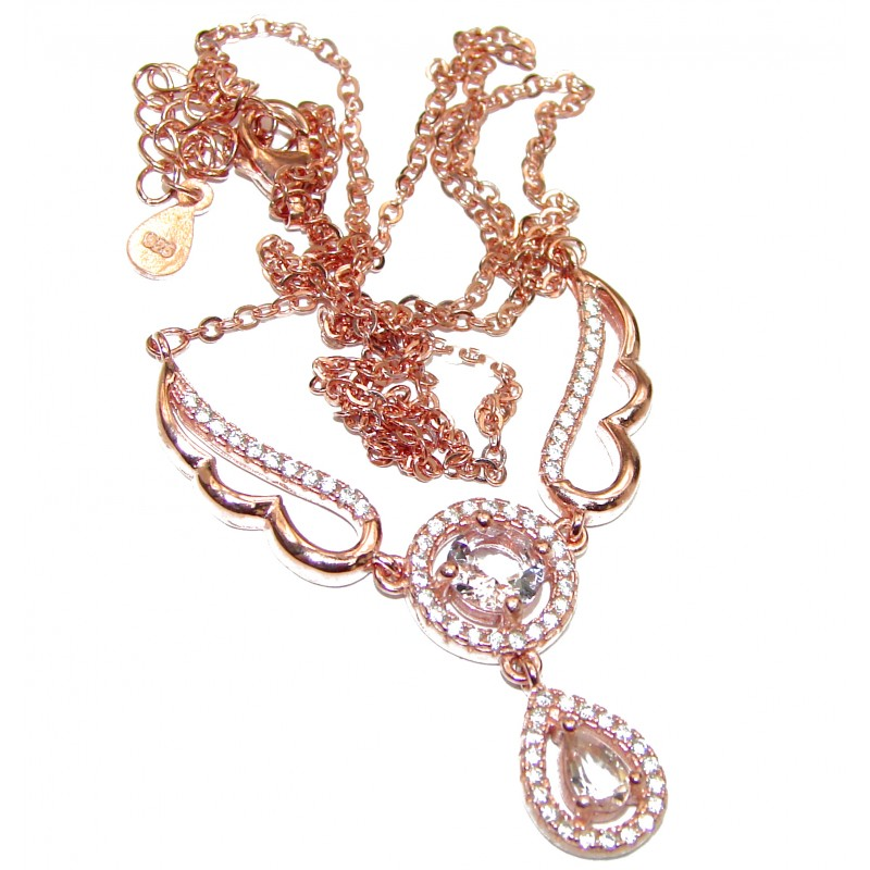 Angel's Wings Morganite Rose Gold over .925 Sterling Silver handmade Necklaces