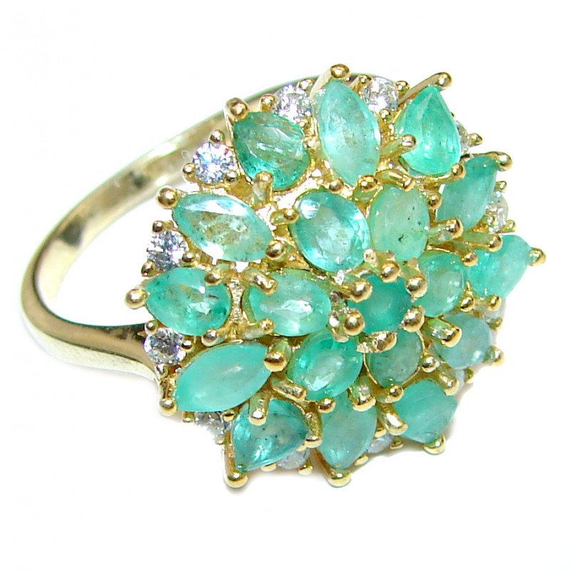 Large Natural Emerald 14K Gold over .925 Sterling Silver handmade Statement ring s. 9 1/4