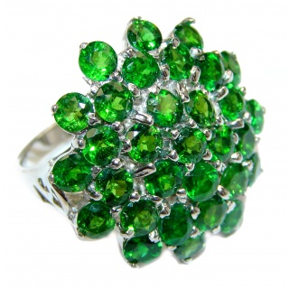 Spectacular Genuine Chrome Diopside .925 Sterling Silver handcrafted ring size 9
