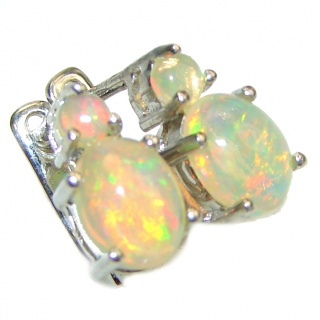 Ethiopian Hot Opal .925 Sterling Silver handcrafted stud earrings