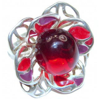 Excellent quality Cherry Amber .925 Sterling Silver handcrafted Ring s. 8 adjustable