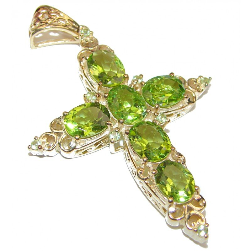 Victorian Style Holy Cross genuine Peridot 24K Gold over .925 Sterling Silver handmade pendant