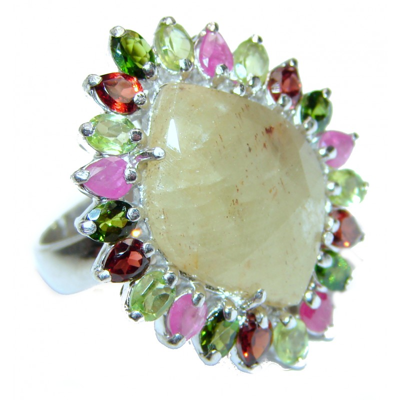 Large Genuine yellow Sapphire .925 Sterling Silver handcrafted Statement Ring size 6