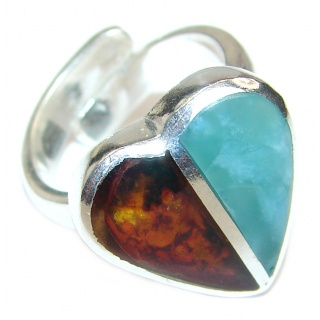 Perfect Together genuine Larimar Amber .925 Sterling Silver handmade Ring s. 7 ADJUSTABLE