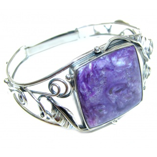 Nature Inspired Design genuine Siberian Charoite .925 Sterling Silver Bracelet