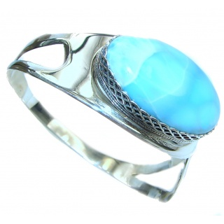 Caribbean Blue best quality authentic Larimar .925 Sterling Silver handcrafted Bracelet / Cuff