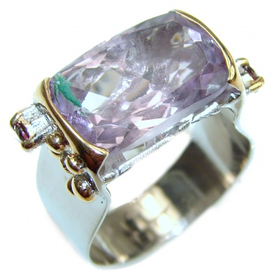 Authentic pink Amethyst .925 Sterling Silver handmade Ring size 6