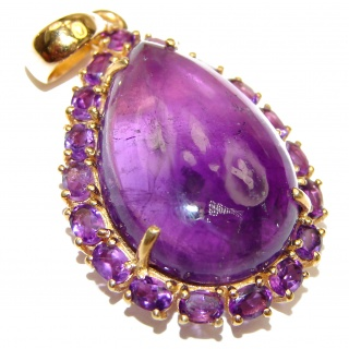 Vintage Design Genuine Amethyst 18K Gold over .925 Sterling Silver handmade Pendant