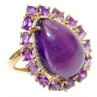Miriam Spectacular Natural Amethyst Gold over .925 Sterling Silver handcrafted ring size 8 1/4