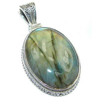 Fire Labradorite .925 Sterling Silver handcrafted pendant