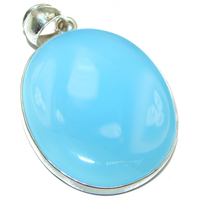 Natural Chalcedony Agate .925 Sterling Silver handmade Pendant