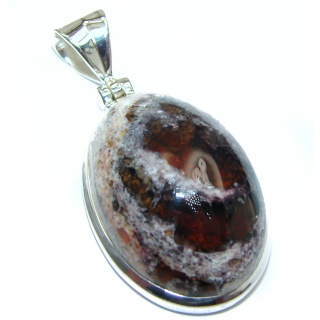Unique Design Natural Mexican Fire Opal .925 Sterling Silver handmade Pendant
