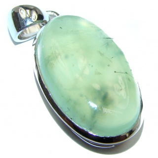 Beautiful genuine Prehnite .925 Sterling Silver handcrafted Pendant