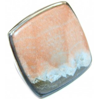 Huge Peachy Color Aventurine .925 Sterling Silver handcrafted Ring s. 8 1/4