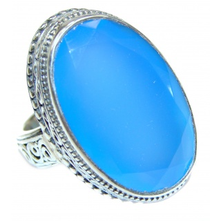 Huge Blue Chalcedony Agate .925 Sterling Silver handcrafted Ring s. 7 1/4