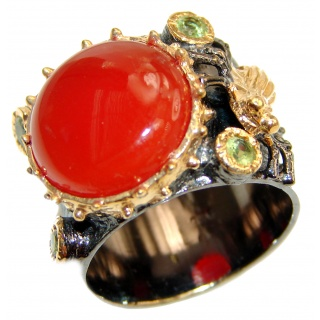 Bianca Genuine Carnelian .925 Sterling Silver handmade Ring Size 8 1/4