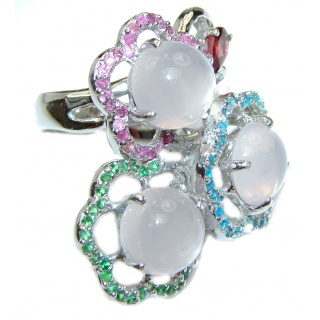 Pastel Bouquet Large Multigem .925 Sterling Silver handcrafted ring size 8 3/4