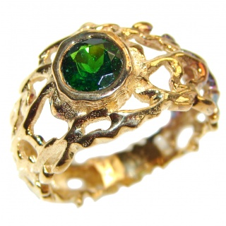 Natural Chrome Diopside 24K Rose Gold over .925 Sterling Silver Statement ring size 7 1/4
