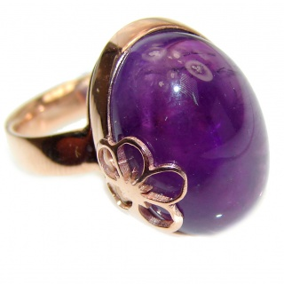 Purple Reef Amethyst Rose Gold over .925 Sterling Silver Ring size 7 adjustable