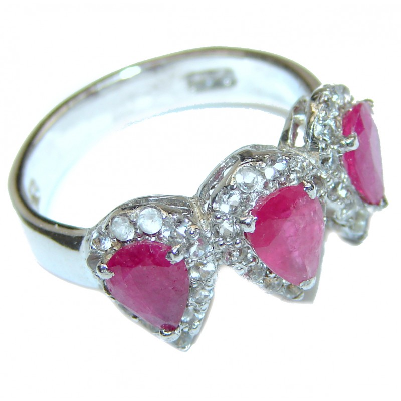 Genuine Kashmir Ruby .925 Sterling Silver handcrafted Statement Ring size 8 1/4