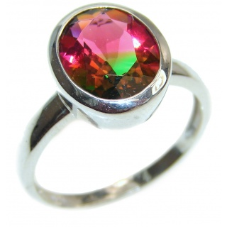 19ctw oval cut watermelon Tourmaline .925 Sterling Silver handcrafted Ring s. 8
