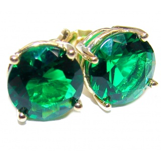 9mm 1.2ctw Colombian Emerald Round Stud Earrings 14Kt Yellow Gold