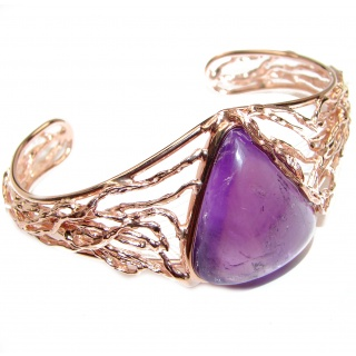 Real Treasure Genuine Amethyst .925 Sterling Silver handcrafted Bracelet / Cuff